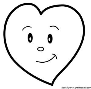 Coloriage Coeur tout souriant dessin gratuit